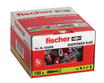 fischer DUOPOWER 2-komponentdybel, 8 x 40 mm, 100 stk.