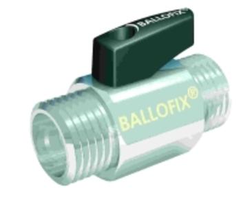 "Image of   Ballofix Kuglehane Nippel/Nippel Forkromet 1/2"" med sort håndtag"