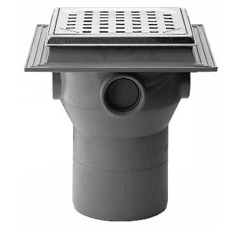 Image of Maxi-Flex afløbsskål med drejelig flange, 110 mm, med rist i PP-plast til indstøbning i beton.