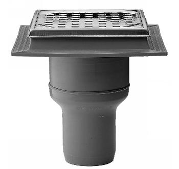 Image of Maxi-Flex afløbsskål med rist, 75 mm i PP-plast til indstøbning i beton.