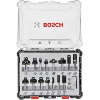 Billede af Bosch Bitsæt til fræsejern, 15 dele, blandet, skaft på 8 mm 15-piece Mixed Application Router Bit Set.