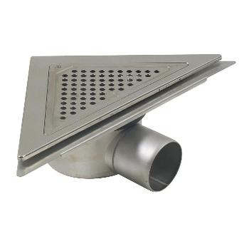 Image of   Blücher 75 mm 3kantet afløb med vandret udløb og membranflange til beton og klinkegulv